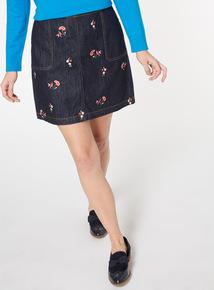 Dark Denim Embroidered Mini Skirt