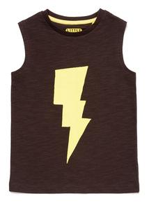 Black Lightening Bolt Vest Top (9 months-6 years)