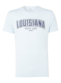 Blue 'Louisiana College' Slogan T-Shirt