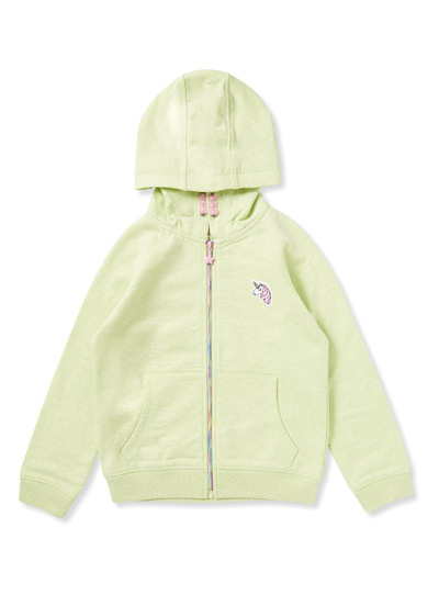 Light Green Embroidered Zip Through Hoodie (9 months-6 years)