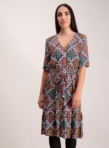 Multicoloured Geo Print Belted Dress
