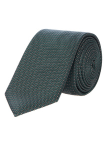 Green Slim Spot Texture Tie