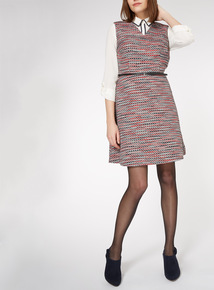 Multicoloured Textured Fit and Flare Dress