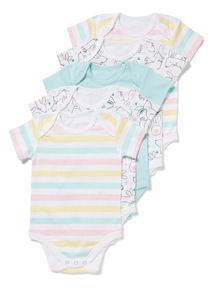 5 Pack Multicoloured Bunny Bodysuits (Newborn-24 months)