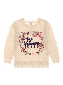 Girls Cream Be Happy Jumper (3-12 years)