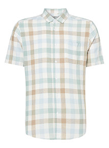 Pastel Blue check Linen Rich Regular Fit Shirt