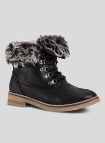 Online Exclusive Black Lace Up Fur Trim Boot