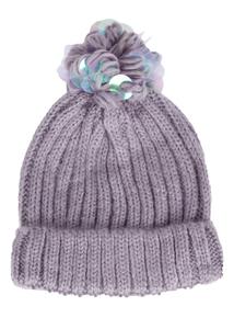 Lilac Knitted Pom-Pom Hat