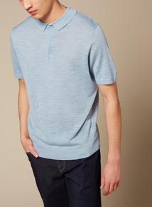 Premium Blue Linen Polo Shirt