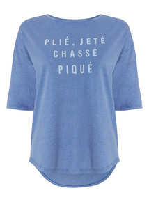 Blue Slogan Washed Top