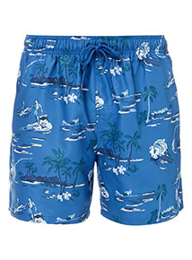 Blue Surf Print Swim Shorts