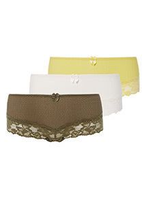 3 Pack Multicoloured Textured Lace Shorts