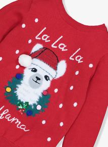 Christmas Red La La La Llama Jumper (3-14 Years)