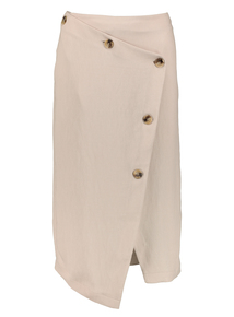 Premium Oatmeal Button-Down Asymmetric Skirt
