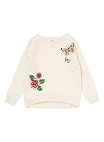 Girls Cream Butterfly Appliqué Sweater (3-14 years)