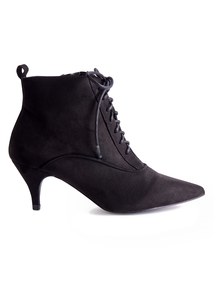 Black Pointed Toe Lace Up Ankle Boot