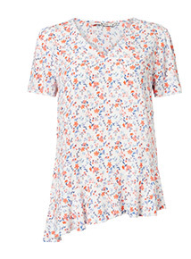 Multicoloured Floral Asymmetrical Hem Top