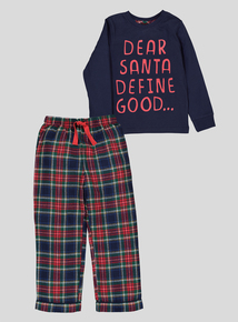 Christmas Slogan Navy Pyjamas (1.5 - 12 years)