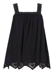 Black Crochet Strap Broderie Vest
