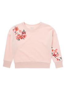 Pink Floral Embroidered Sweat (3 - 14 years)