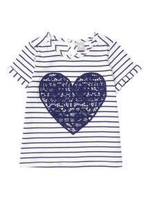 White Heart Stripe Top (9 months - 6 years)