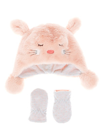 Pink Faux Fur Bunny Hat And Mitten Set (0-24 months)