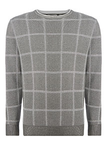 Grey Check Pattern Cotton Crew Neck Jumper