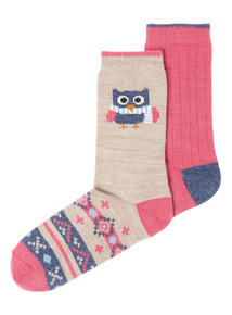 2 Pack Thermal Owl Socks