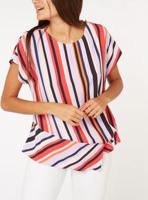 Stripe Print Tie Side Top