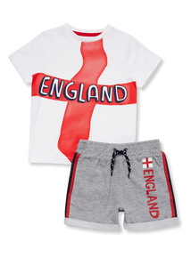 White England Flag T-shirt and Shorts Set (9 months-6 years)