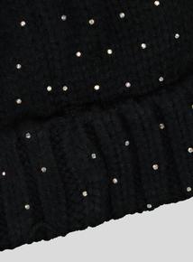 Black Sequin Pom-Pom Beanie Hat (3-13 years)