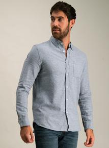 Blue Textured Cotton Regular Fit Shirt
