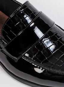 Sole Comfort Black Patent Mock Croc Loafers