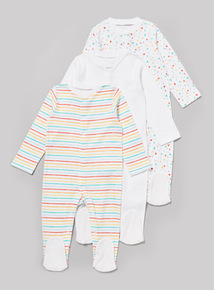 3 Pack Multicoloured Sleepsuits (Tiny Baby-36 months)