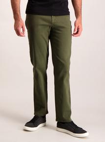 Khaki Straight Leg Cotton Twill Jeans With Stretch