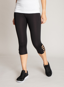 Black Lattice Detail Cropped Leggings