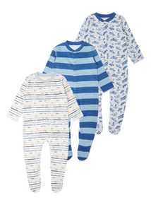 Blue Island Hopper Sleepsuits 3 Pack (0 - 24 months)