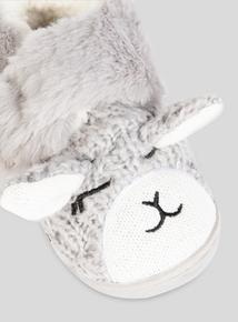 Grey Fluffy Lamb Slippers (4 Infant-13 Infant)
