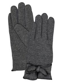Grey Ladylike Bowed Gloves