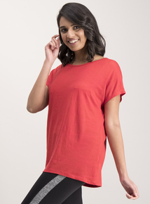 Red Crossover Strap Back Top