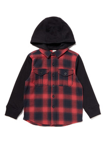 Red Checked Hooded Shirt (3-14 years)