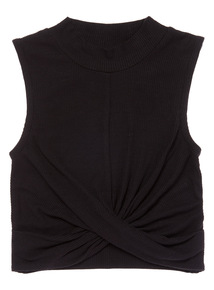 Black Ribbed Wrap Top (3-12 years)