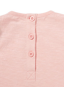 Pink Woven Panel Top and Grey Leggings Set (0-23 months)