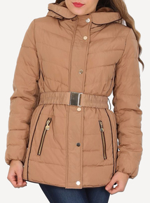 DAVID BARRY Gold Faux Down Jacket