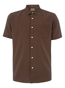 Brown Linen Rich Regular Fit Shirt