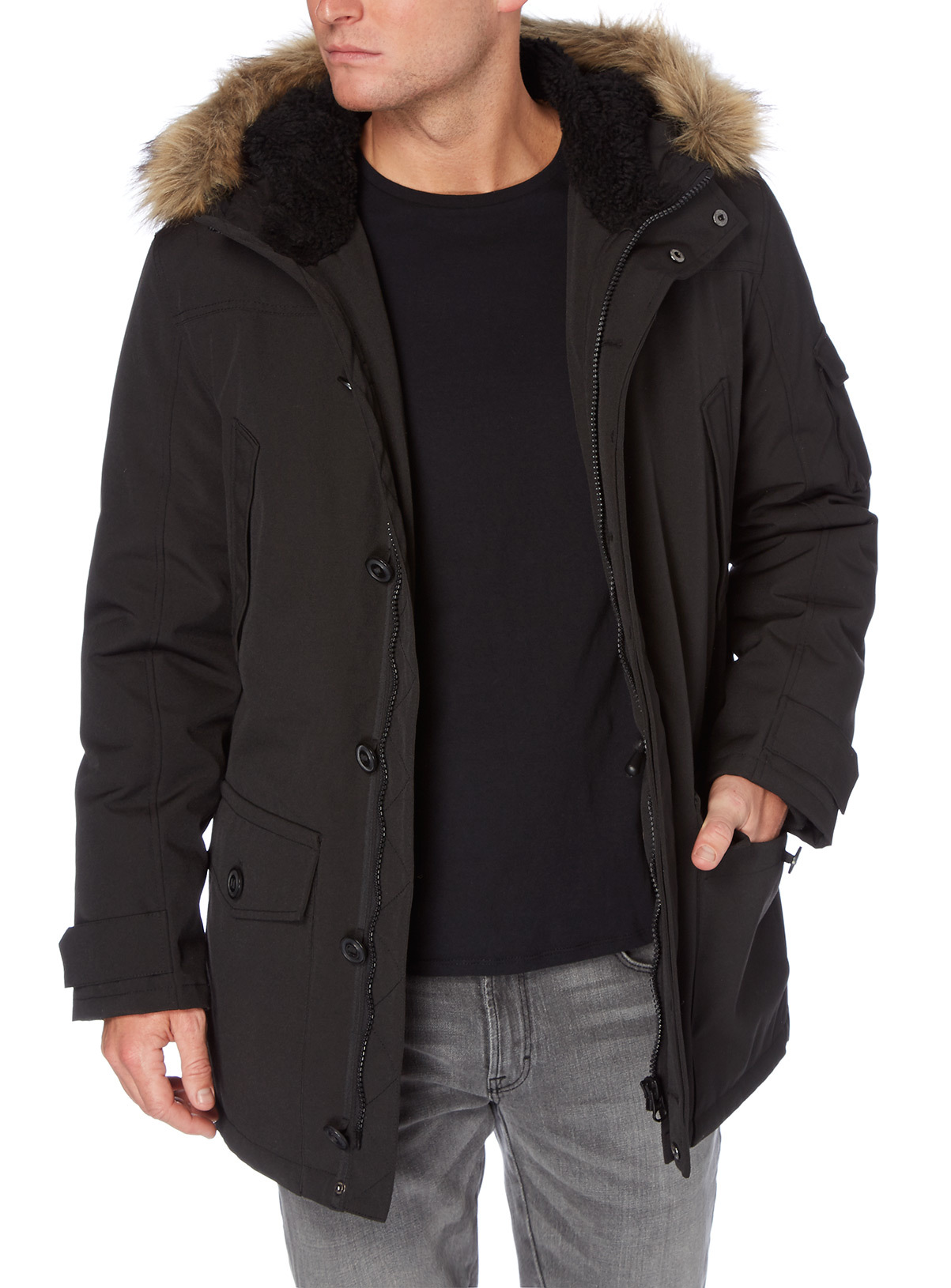 Mens Black Parka Coat | Tu clothing