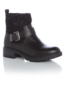Black Cleated Sole Biker Boots