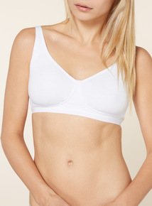 White Cotton Comfort Non Wired Plunge Bra