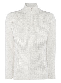 White Pineapple Stitch Half Zip Jumper