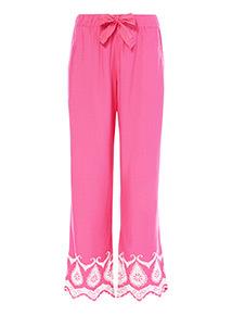 Pink Embroidered Hem Pyjama Bottoms